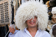 Uzbekistan, Bukhara. Traditional sheep fur hat.
