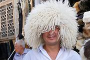 Uzbekistan, Bukhara. Traditional sheep fur hat.