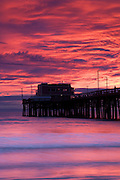 The Newport Pier, Newport Beach at sunset, Orange County, California