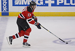 Feb 5, 2010; Newark, NJ, USA; New Jersey Devils left wing Ilya Kovalchuk (17) skates with the puck during the third period at the Prudential Center. The Devils rallied with three goals in the period to win 4-3.