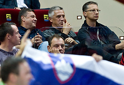 Zoran Jankovic, Peter Vilfan and Igor Luksic during the EuroBasket 2009 Semi-final match between Slovenia and Serbia, on September 19, 2009, in Arena Spodek, Katowice, Poland. Serbia won after overtime 96:92.  (Photo by Vid Ponikvar / Sportida)