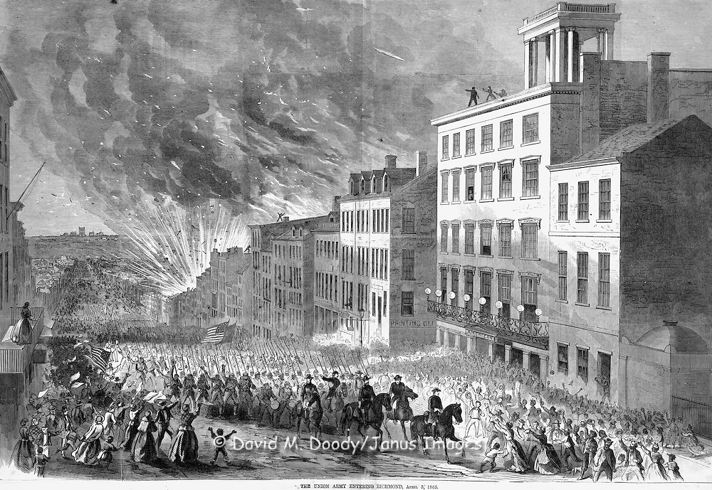 Harper's Weekly, April 22 1865  Union troops enter a burning Richmond, Virginia at the end of the Civil War
