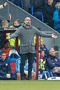 Manchester City Manager Pep Guardiola vents his frustration towards the Manchester City players after the Crystal Palace goal during the Premier League match between Crystal Palace and Manchester City at Selhurst Park, London, England on 14 April 2019.