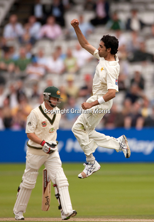 Umar Gul celebrates having Tim Paine (left) caught during the MCC Spirit of Cricket Test Match between Pakistan and Australia at Lord's.  Photo: Graham Morris (Tel: +44(0)20 8969 4192 Email: sales@cricketpix.com) 13/07/10