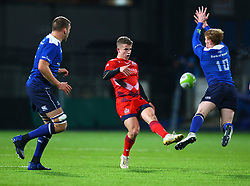Bristol United's Billy Searle of Bristol United kicks under pressure from Cathal Marsh of Leinster - Mandatory by-line: Ken Sutton/JMP - 15/12/2017 - RUGBY - Donnybrook Stadium - Dublin,  - Leinster 'A' v Bristol United -