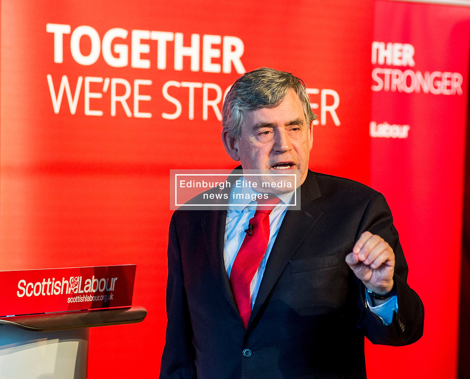 Former Prime Minister Gordon Brown gives a speech at a campaign event in Kirkcaldy.<br /> © Dave Johnston/ EEm