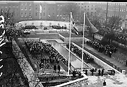 11/04/1966<br /> 04/11/1966<br /> 11 April 1966<br /> 1916 Jubilee Commemorations- Opening and Blessing Ceremony at the Garden of Remembrance, Parnell Square, Dublin. Image shows a view of the Garden and the ceremony with President de Valera laying a wreath in the background.