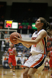 Brenna McGuire (10) takes a look at the basket in the second half against NC State.  McGuire had 10 points in the Cavs 73-63 losing effort to the Wolfpack.