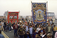 North Gawber and Woolley Branch Banners on a Yorkshire Area NUM march in Barnsley.