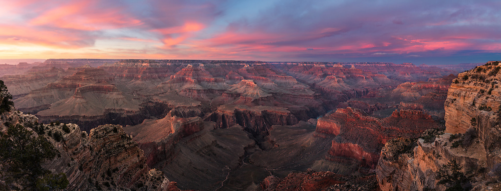 A colorful sunset form the South Rim of the Grand Canyon.