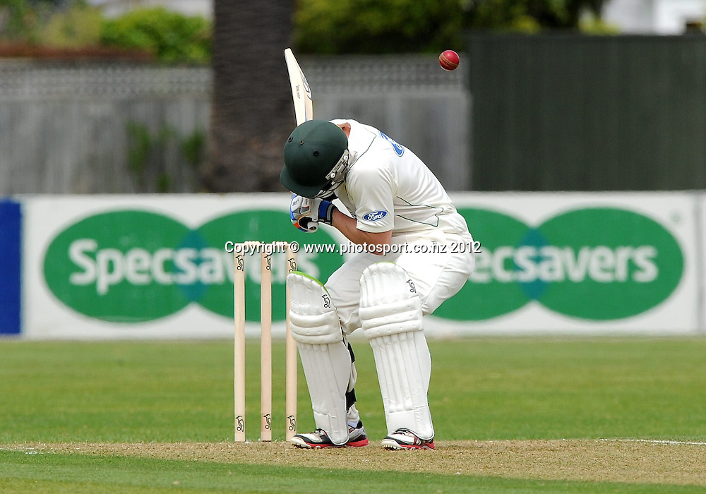 Central Stag's Carl Cachopa ducks a bouncer in the Plunket Shield Cricket match, Central Stags vs Wellington Firebirds, Nelson Park, Napier, New Zealand. Sunday 28 October 2012. Photo: Kerry Marshall / photosport.co.nz