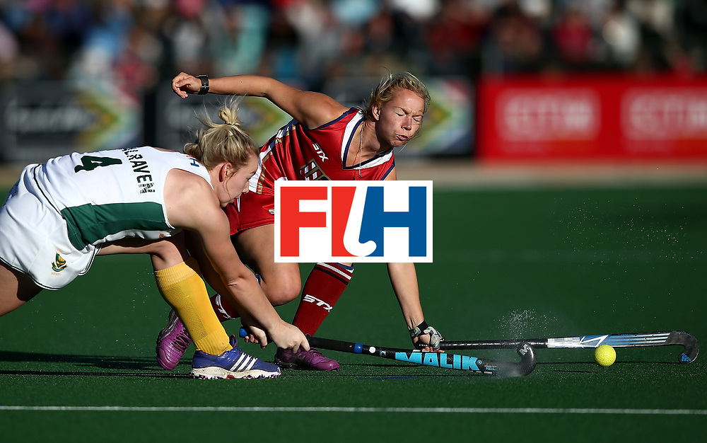 JOHANNESBURG, SOUTH AFRICA - JULY 16:  Nicole Woods of United States of America battles with Nicole Walraven of South Africa during day 5 of the FIH Hockey World League Women's Semi Finals Pool B match between South Africa and United States of America at Wits University on July 16, 2017 in Johannesburg, South Africa.  (Photo by Jan Kruger/Getty Images for FIH)