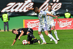 Jan Mlakar of NK Maribor vs Zan Karnicnik of NS Mura during football match between NS Mura and NK Maribor in 10th Round of Prva liga Telekom Slovenije 2018/19, on September 30, 2018 in Mestni stadion Fazanerija, Murska Sobota, Slovenia. Photo by Mario Horvat / Sportida