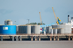 © Licensed to London News Pictures. 19/09/2017. Hull UK. Picture shows the King George dock in Hull where a tank containing 580 tons of hydrochloric acid leaked last night. Fifty firefighter's where sent to the major leak at the quayside of Kings George dock. The dock includes several materials companies, shipping services & a ferry terminal.  Photo credit: Andrew McCaren/LNP