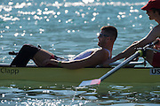 Aiguebelette, FRANCE.   USA M4-. putting on a compression trousers, 08:59:04  Saturday  21/06/2014. [Mandatory Credit; Peter Spurrier/Intersport-images]