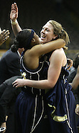 28 NOVEMBER 2007: Georgia Tech forward Brigitte Ardossi (35) hugs a teammate in the closing seconds of Georgia Tech's 76-57 win over Iowa in the Big Ten/ACC Challenge at Carver-Hawkeye Arena in Iowa City, Iowa on November 28, 2007.
