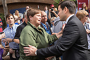 Senator and GOP presidential candidate Marco Rubio greets supporters following his appearance at the Bully Pulpit series town hall at the College of Charleston December 1, 2015 in Charleston, South Carolina.