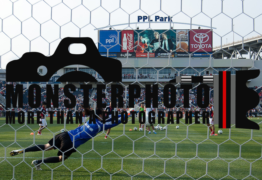 05/27/12 Chester PA: China Keeper Zhang Yue #1 drives for the ball during warm ups prior to the of a international friendly match against the US Sunday May. 27, 2012, at PPL Park in Chester PA. ..The United States lead 2-1 at halftime..The News Journal/SAQUAN STIMPSON.