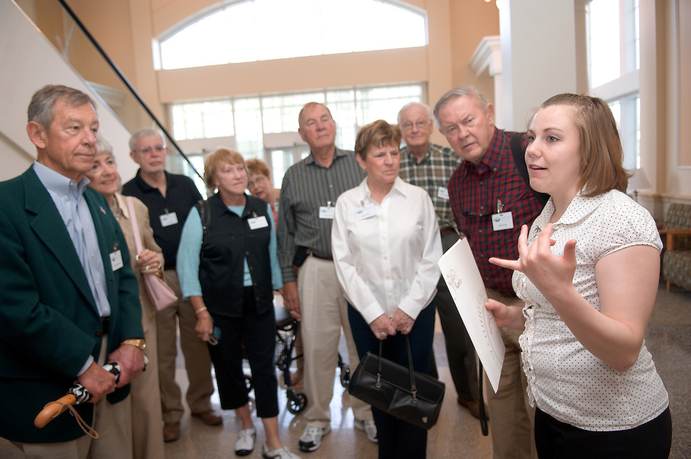 18660Golden Reunion, class of 1958: Tour of Baker Center..Didi Tenzek leads the tour with Senator George Voinovich & Mrs. Voinovih