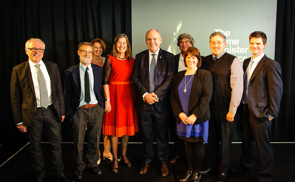 WELLINGTON, NEW ZEALAND - December 02: (not in order: Philippa Howden-Chapman, Michael Baker, Chris Cunningham, Julian Crane, Malcolm Cunningham, Robyn Phipps ) with Economic Development Minister Steven Joyce. Prime Ministers Science Prizes December 02, 2014 in Wellington, New Zealand.  (Photo by Mark Tantrum/ mark tantrum.com)