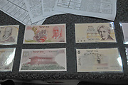 A display of Israeli bank notes from 1973