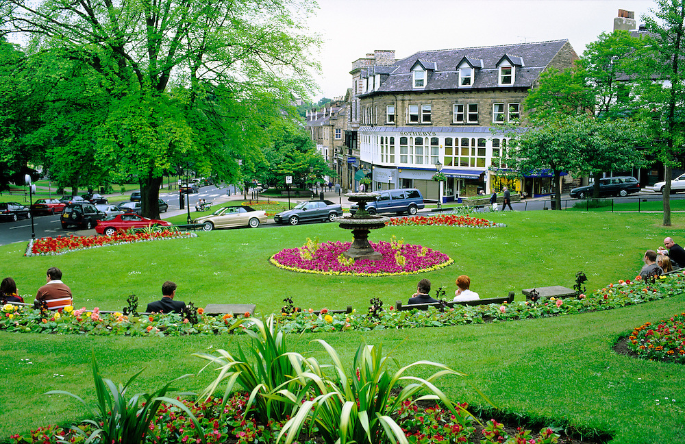Harrogate, North Yorkshire, England. Across floral garden park in the town centre to Sotheby's auction rooms.