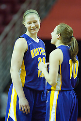 01 January 2011: Lizzie Boeck and Jacqui Kalin chat during an NCAA Women's basketball game between the Northern Iowa Panthers and the Illinois State Redbirds at Redbird Arena in Normal Illinois.