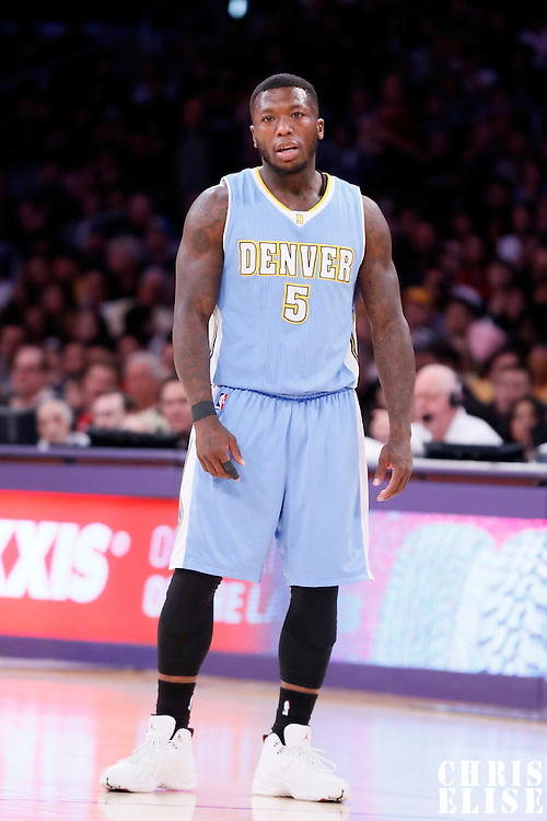 23 November 2014: Denver Nuggets guard Nate Robinson (5) rests during the Denver Nuggets 101-94 overtime victory over the Los Angeles Lakers, at the Staples Center, Los Angeles, California, USA.