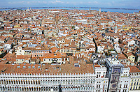 View of city from the Bell Tower in San Marcos Square Venice Italy