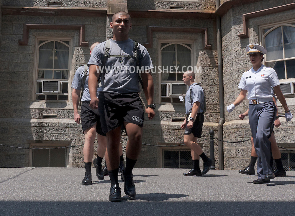 West Point, New York - New cadets receive instruction in basic marching skills during Reception Day at the United States Military Academy at West Point on July 2, 2014. About 1,200 cadet candidates, the West Point Class of 2018, reported to the academy to begin their military careers.