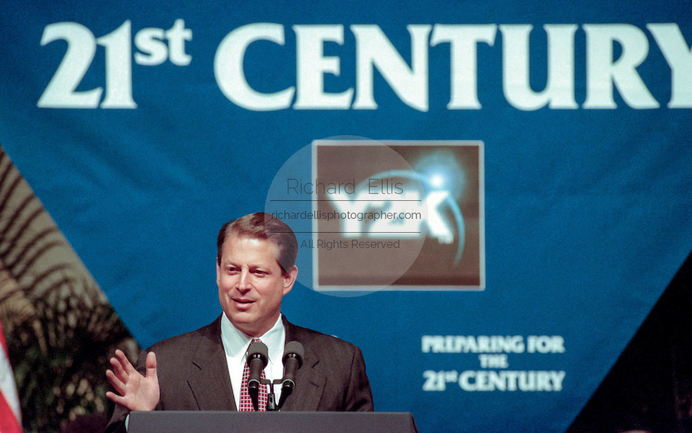 Vice President Al Gore discusses the computer glitch known as the Year 2000 problem or by it's acronym 'Y2K' during a speech at the National Academy of Science July 14, 1998 in Washington, DC. The glitch involves the failure of computer software to recognize the year 2000 and can potentially cause massive problems in government and industry.