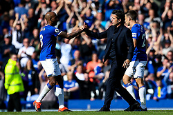 Everton manager Marco Silva celebrates victory over Wolverhampton Wanderers with Fabian Delph of Everton - Mandatory by-line: Robbie Stephenson/JMP - 01/09/2019 - FOOTBALL - Goodison Park - Liverpool, England - Everton v Wolverhampton Wanderers - Premier League