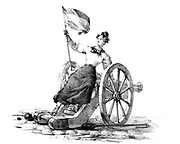 Revolution in France, 1830:  Uprising in Paris 27, 28 and 30 July.  Young woman seated on a cannon and flourishing a Tricoleur. Lithograph.
