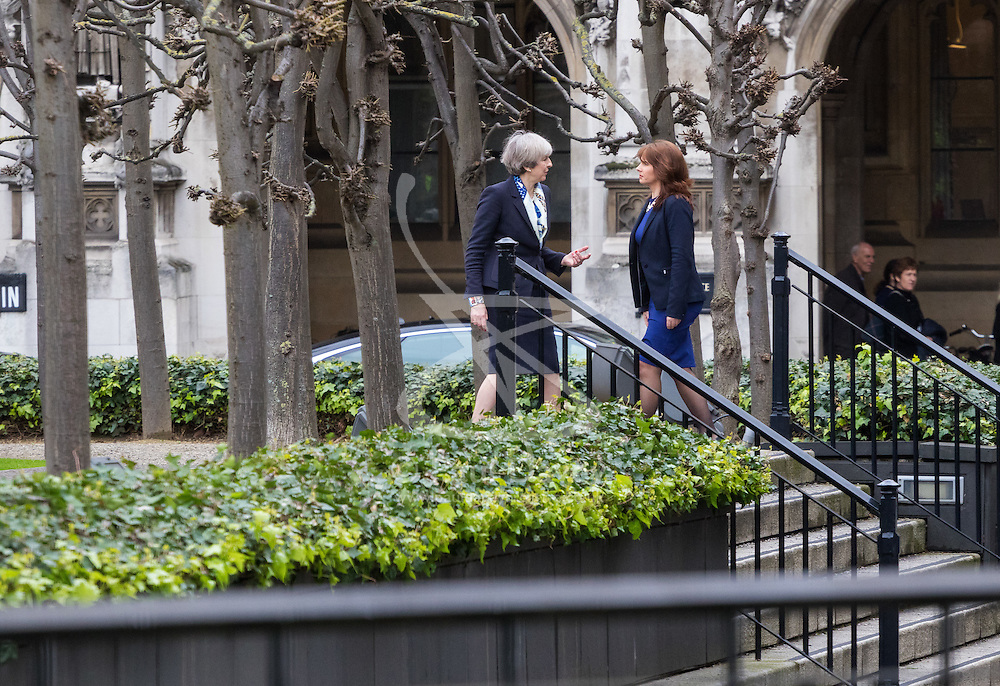 Parliament, London, March 1st 2017. Prime Minister Theresa May poses for pictures outside the House of Commons with the Conservative Party's newest MP Trudy Harrison who won the Copeland by-election