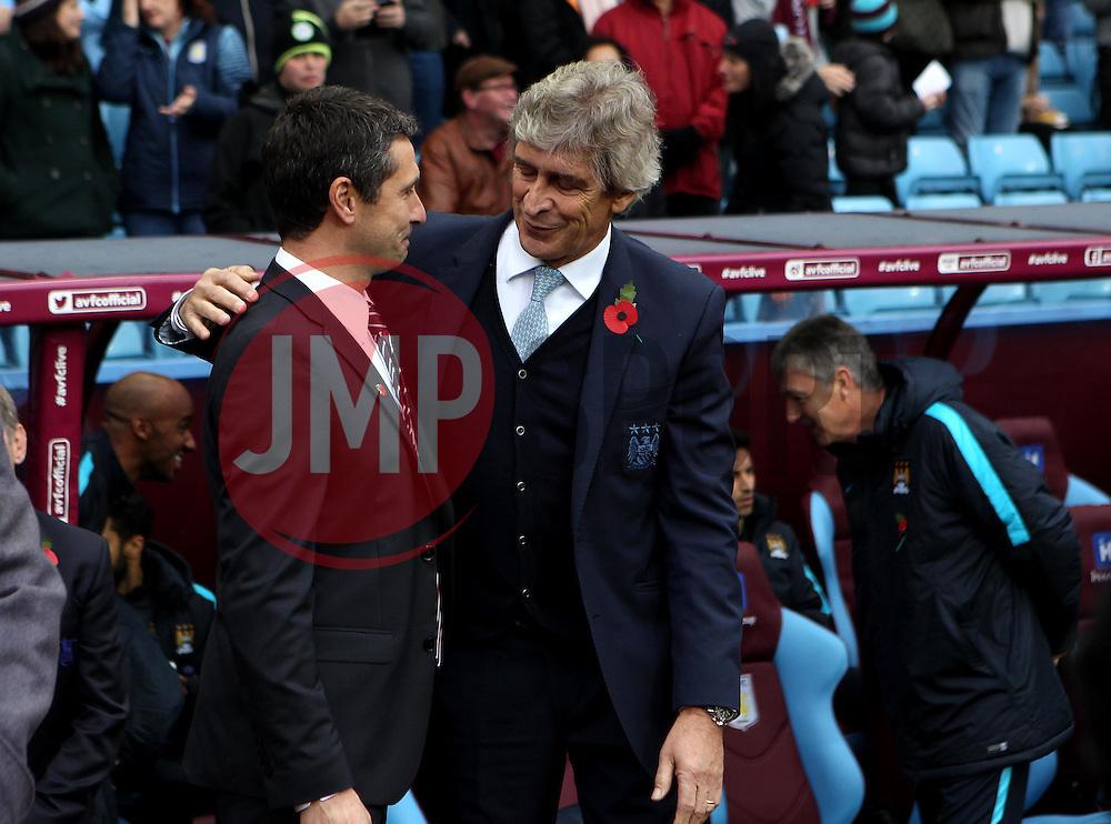 Aston Villa Manager Remi Garde and Manchester City Manager, Manuel Pellegrini - Mandatory byline: Robbie Stephenson/JMP - 07966 386802 - 08/11/2015 - FOOTBALL - Villa Park - Birmingham, England - Aston Villa v Manchester City - Barclays Premier League