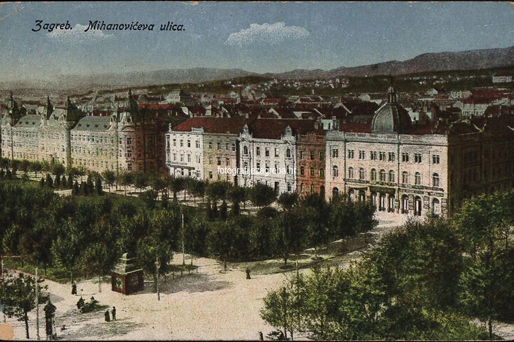 Zagreb : Mihanovićeva ulica. <br /> <br /> ImpresumZagreb : T. [?] P., [1917].<br /> Materijalni opis1 razglednica : tisak ; 8,9 x 13,9 cm.<br /> Mjesto izdavanjaZagreb<br /> Vrstavizualna građa • razglednice<br /> ZbirkaZbirka razglednica • Grafička zbirka NSK<br /> Formatimage/jpeg<br /> PredmetZagreb –– Ulica Antuna Mihanovića<br /> SignaturaRZG-MIH-2<br /> Obuhvat(vremenski)20. stoljeće<br /> NapomenaRazglednica je putovala 1917. godine.<br /> PravaJavno dobro<br /> Identifikatori000955081<br /> NBN.HRNBN: urn:nbn:hr:238:849806 <br /> <br /> Izvor: Digitalne zbirke Nacionalne i sveučilišne knjižnice u Zagrebu