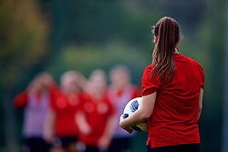 NEWPORT, WALES - Friday, October 5, 2018: Wales' Megan Wynne takes a throw-in during a training session at Dragon Park. (Pic by David Rawcliffe/Propaganda)