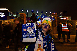 LIVERPOOL, ENGLAND - Monday, December 19, 2016: An Everton supporter outside Goodison Park ahead of the FA Premier League match between Everton and Liverpool, the 227th Merseyside Derby, at Goodison Park. (Pic by Gavin Trafford/Propaganda)