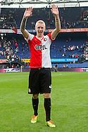 ROTTERDAM, Feyenoord - Go Ahead Eagles, voetbal Eredivisie, seizoen 2013-2014, 30-03-2014, Stadion de Kuip, Feyenoord speler Lex Immers is blij met de overwinning.
