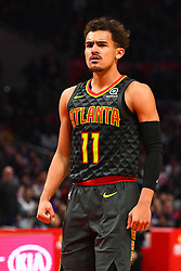 January 29, 2019 - Los Angeles, CA, U.S. - LOS ANGELES, CA - JANUARY 28: Atlanta Hawks Guard Trae Young (11) looks on during a NBA game between the Atlanta Hawks and the Los Angeles Clippers on January 28, 2019 at STAPLES Center in Los Angeles, CA. (Photo by Brian Rothmuller/Icon Sportswire) (Credit Image: © Brian Rothmuller/Icon SMI via ZUMA Press)