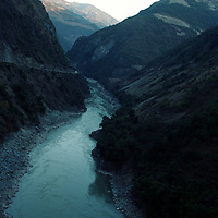 "DEQIN COUNTY, DECEMBER 17, 2000: the Mekong river in deqin county, Yunnan province , December 17, 2000..The area is believed to be part of the areas on which James Hilton's famous novel "" lost Horizon""- a description of Shangri-La- is modelled.. ."
