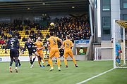 16th February 2019, Tony Macaroni Arena, Livingston, Scotland; Ladbrokes Premiership football, Livingston versus Dundee; Andrew Nelson of Dundee scores for 1-1 in the 55th minute