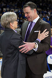 Kentucky head coach Matthew Mitchell, right, talks with Tennessee head coach Holly Warlick before the game.<br /> <br /> The University of Kentucky hosted the University of Tennessee, Monday, Jan. 25, 2016 at Memorial Coliseum in Lexington .