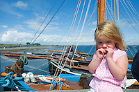 Ríona O Donoghuhe on the pier at Parkmore during  the Crinniu na mBad (Gathering of the boats) Festival  in Kinvara Co. Galway at the weekend featuring Galway hookers racing across the bay. Photo:Andrew Downes.