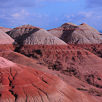 Colorful designs in the terrain of Badlands National Park South Dakota.