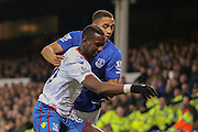 Everton defender Brendan Galloway and Crystal Palace midfielder Yannick Bolasie  during the Barclays Premier League match between Everton and Crystal Palace at Goodison Park, Liverpool, England on 7 December 2015. Photo by Simon Davies.