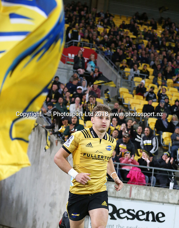 Hurricanes Beauden Barrett. Hurricanes V Chiefs. Super Rugby round 8 at Westpac Stadium, Wellington. 13th April 2018. © Copyright Photo: Grant Down / www.photosport.nz