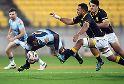 Northland's Jone Macilai, left chased by Wellington's Mateaki Kafatolu in the Mitre 10 Rugby match at Westpac Stadium, Wellington, New Zealand, Thursday, October 12 2017. Credit:SNPA / Ross Setford  **NO ARCHIVING**