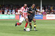 Nigel Atangana and Dominic Poleon during the EFL Sky Bet League 2 match between Cheltenham Town and Crawley Town at LCI Rail Stadium, Cheltenham, England on 4 August 2018. Picture by Antony Thompson.