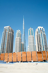 Many new  high-rise apartment buildings  in Downtown Dubai district in United arab Emirates UAE Middle East